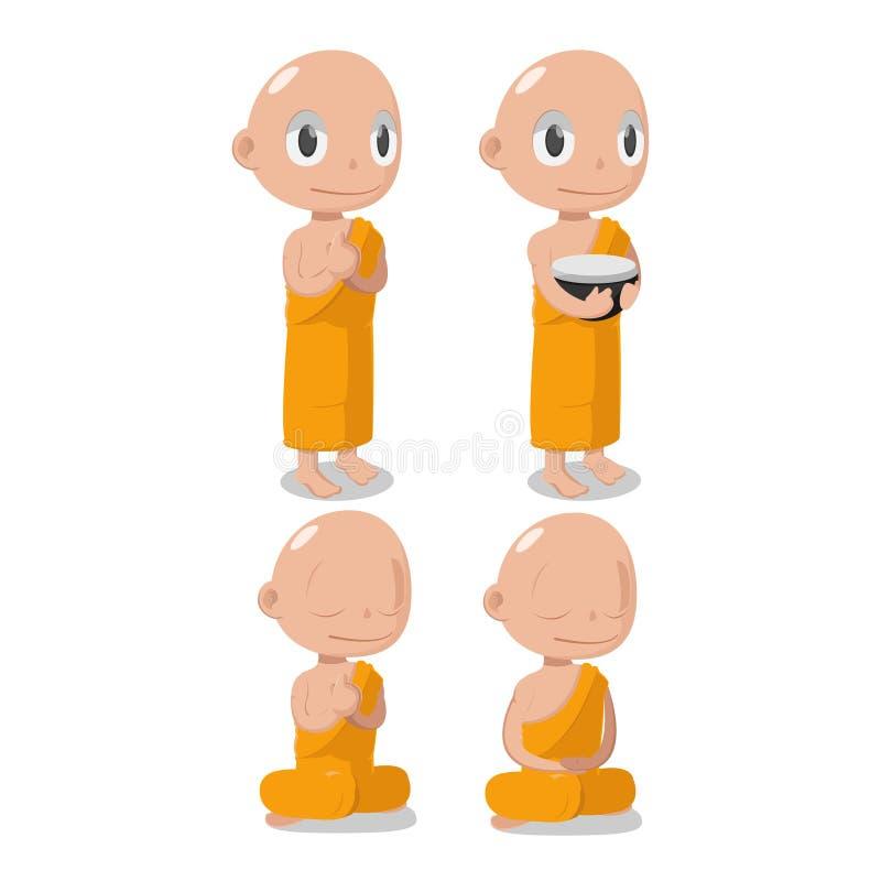 Caráter de Buddha Cartoon Cute da monge ilustração stock