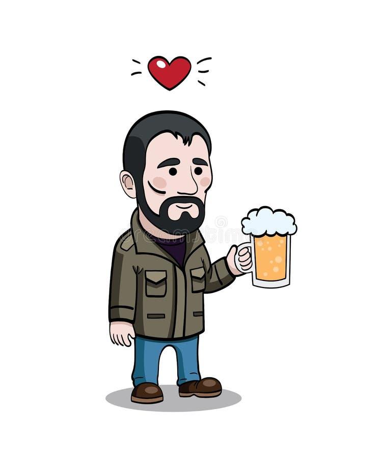 Caráter de Cartoony com caneca de cerveja ilustração do vetor