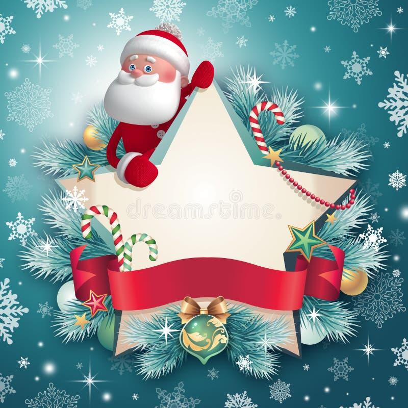 caráter de 3d Santa Claus que guarda o cartão da estrela