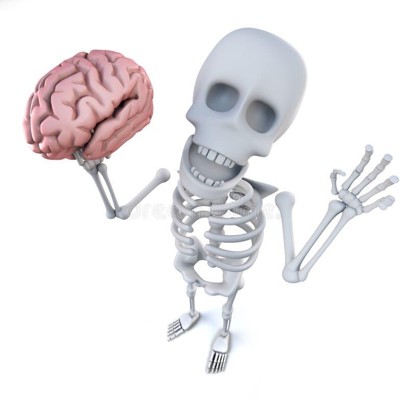 caráter de esqueleto dos desenhos animados 3d engraçados que guarda um cérebro humano ilustração royalty free
