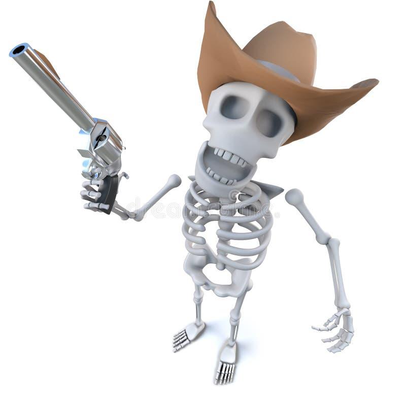 caráter de esqueleto dos desenhos animados 3d engraçados que veste um chapéu de vaqueiro e que guarda uma arma ilustração stock