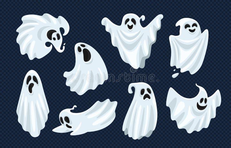 Caráter de Ghost O monstro espectral assustador de Dia das Bruxas, o susto inoperante da vaia e o anima assustador da mosca isola ilustração do vetor