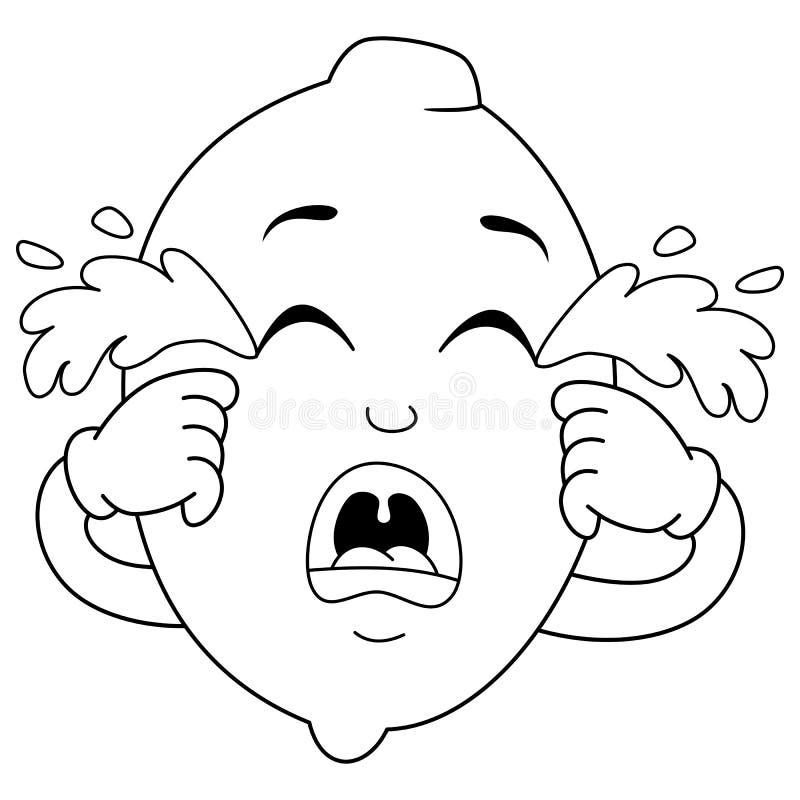 Caráter de grito triste colorindo do limão ilustração do vetor
