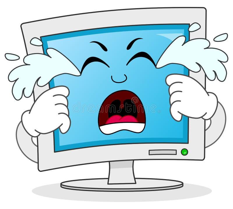 Caráter de grito triste do monitor do computador ilustração stock