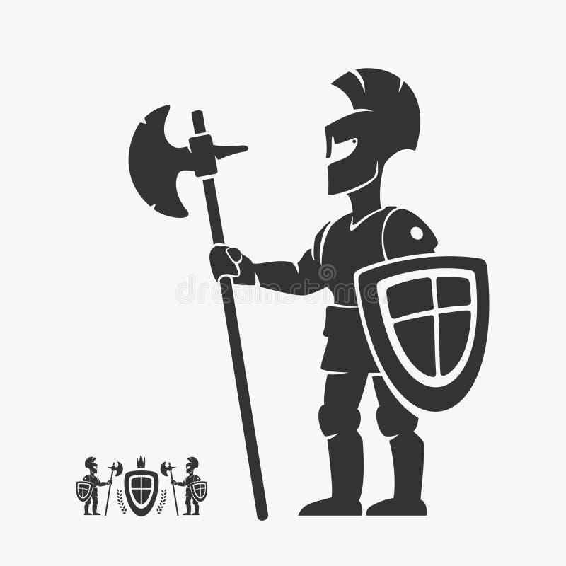 Caráter de Guardian Heraldry Vetora do cavaleiro ilustração royalty free