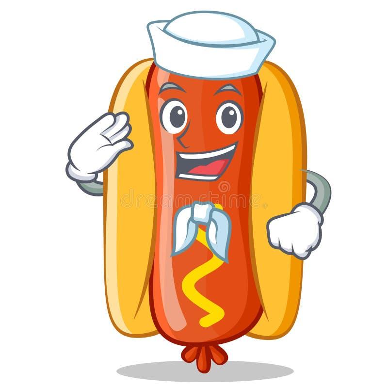 Caráter de Hot Dog Cartoon do marinheiro ilustração stock