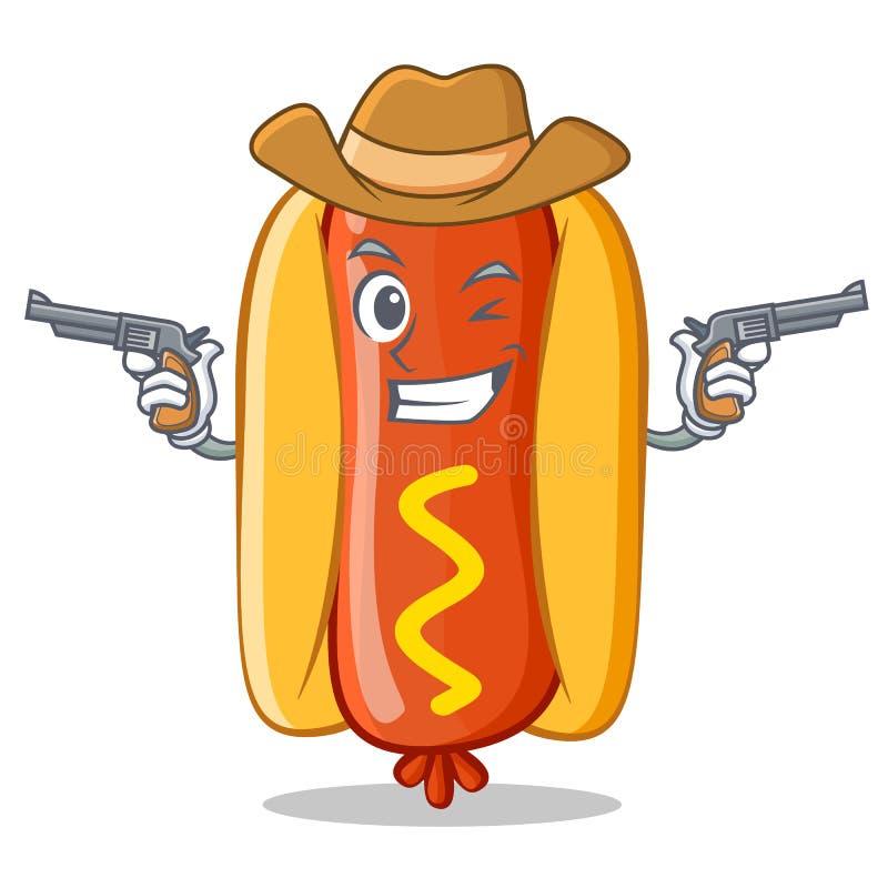 Caráter de Hot Dog Cartoon do vaqueiro ilustração royalty free