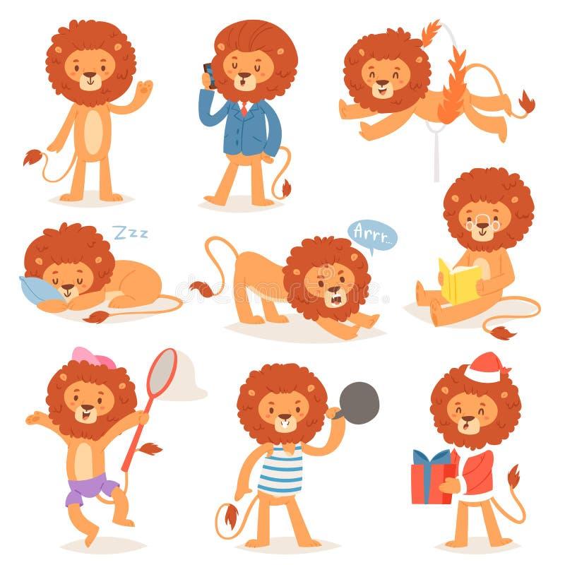 Caráter de leo das crianças do vetor do leão dos desenhos animados de animalista ajustado animal da ilustração da leitura ou do s ilustração do vetor