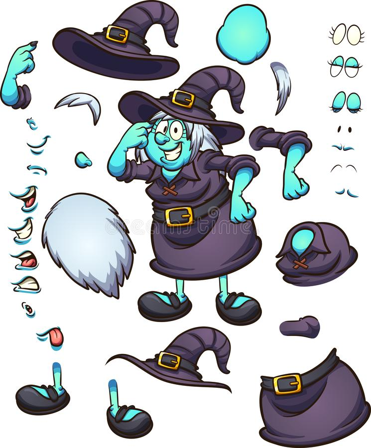 Caráter de pensamento da bruxa de Dia das Bruxas dos desenhos animados com partes do corpo e expressões diferentes ilustração royalty free