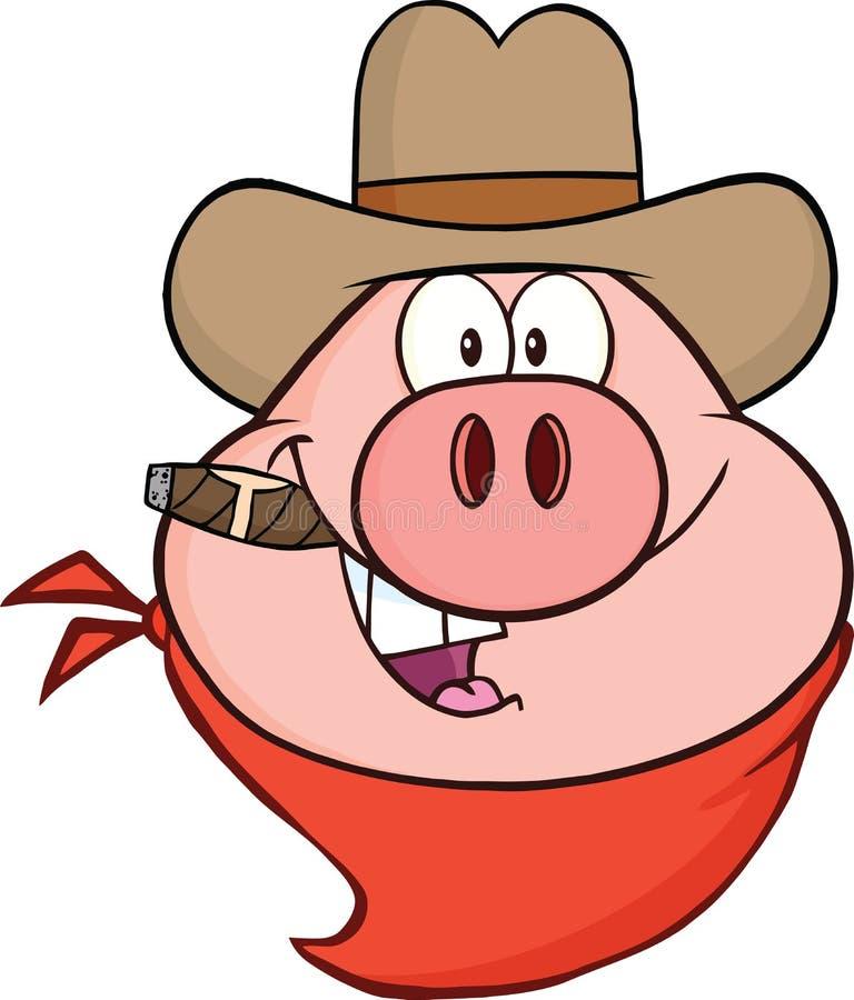 Caráter de Pig Head Cartoon do vaqueiro ilustração stock