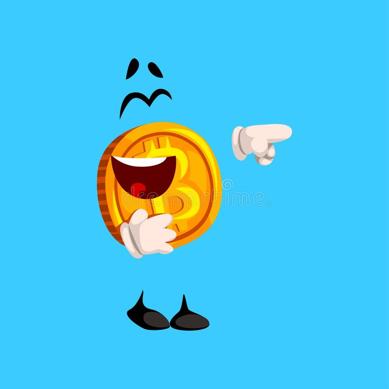 Caráter de riso feliz do bitcoin que aponta em algo, ilustração cripto do vetor do emoticon da moeda em um azul-céu ilustração stock