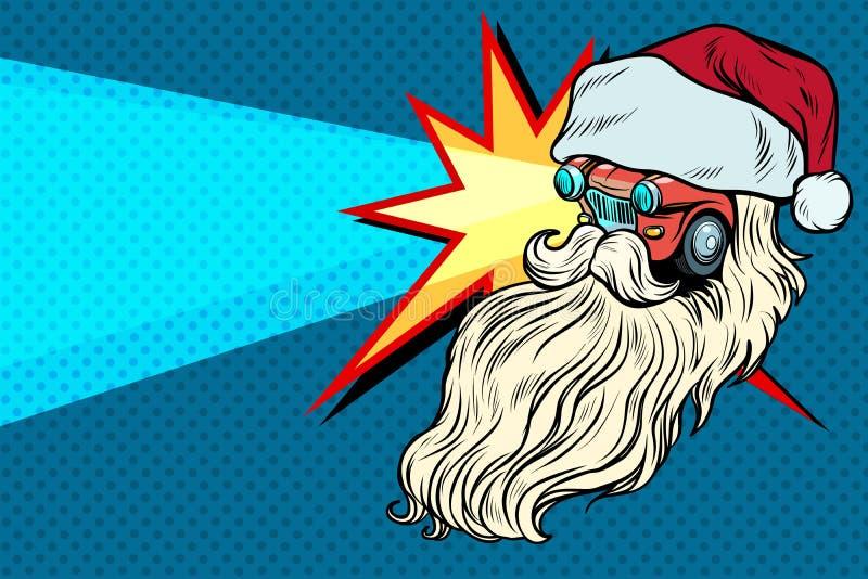 Caráter de Santa Claus Christmas do carro dos faróis ilustração do vetor