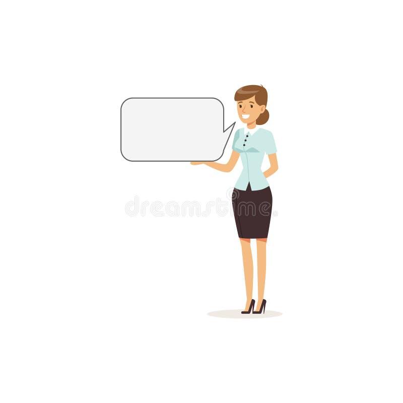 Caráter de sorriso bonito da mulher de negócios com quadro de mensagens vazio ilustração do vetor