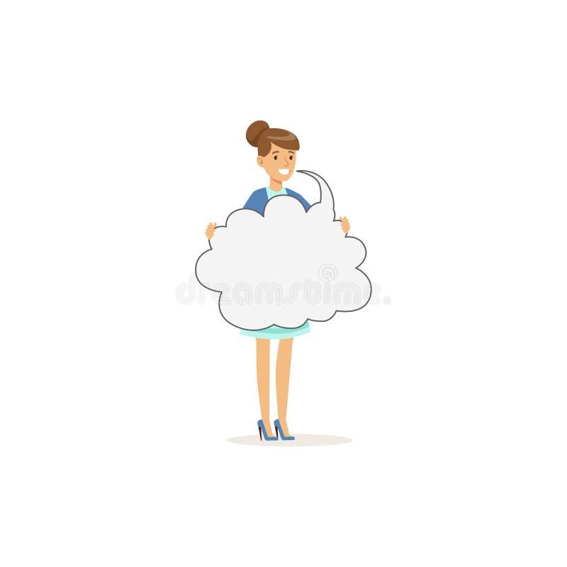 Caráter de sorriso bonito da mulher que guarda a nuvem da mensagem vazia, ilustração do vetor da bolha do discurso ilustração do vetor