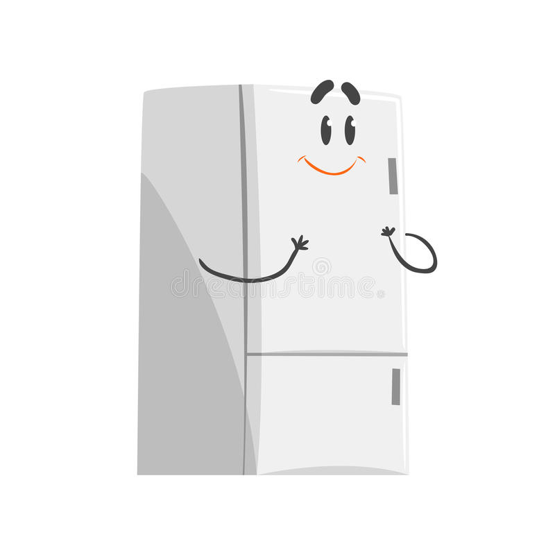 Caráter de sorriso bonito do refrigerador dos desenhos animados, aparelho eletrodoméstico engraçado humanizado ilustração royalty free