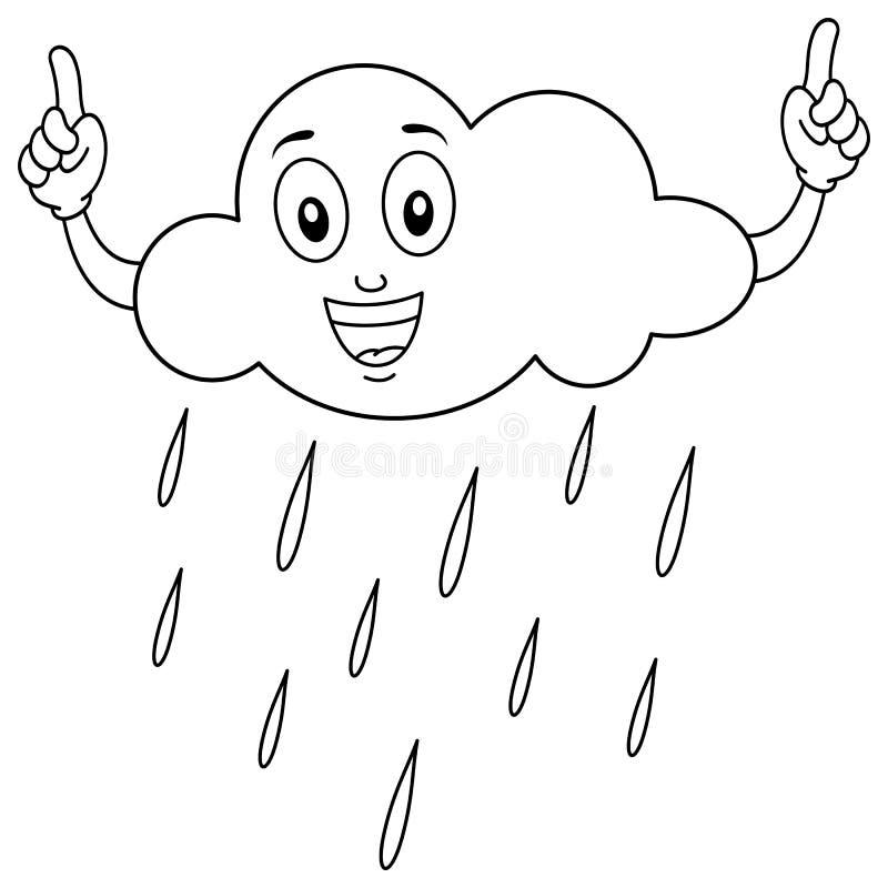 Caráter de sorriso colorindo da nuvem ilustração royalty free