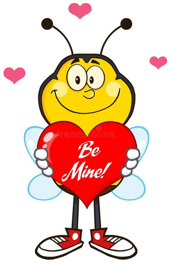 Caráter de sorriso da mascote dos desenhos animados da abelha que sustenta um coração vermelho com texto ilustração do vetor