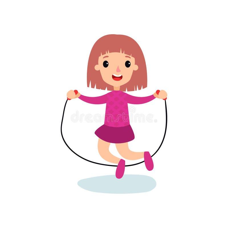 Caráter de sorriso da menina que salta com corda, ilustração do vetor dos desenhos animados da atividade física das crianças ilustração do vetor