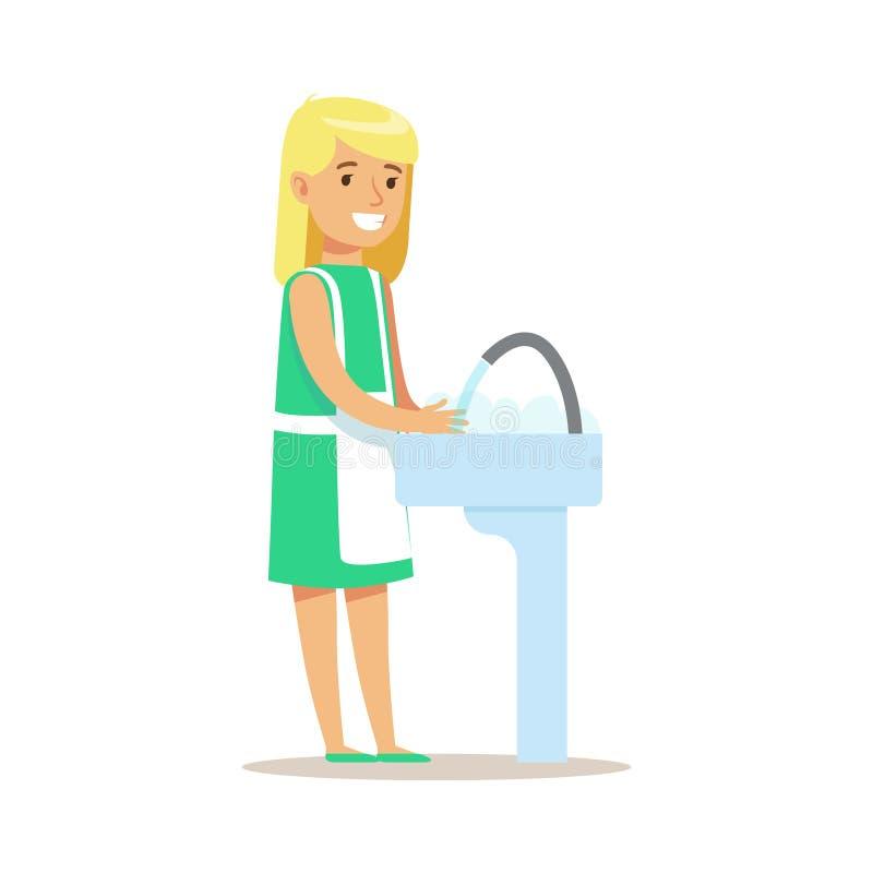 Caráter de sorriso de lavagem da criança dos desenhos animados dos pratos da menina que ajuda com tarefas domésticas e que faz a  ilustração stock