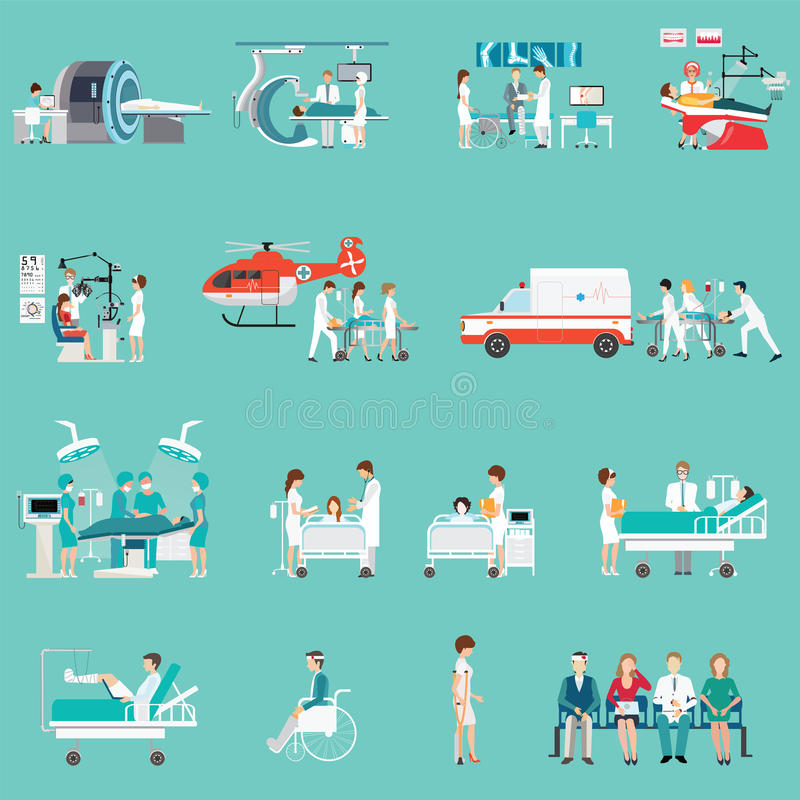 Caráter diferente do pessoal médico e dos pacientes no hospital ilustração stock