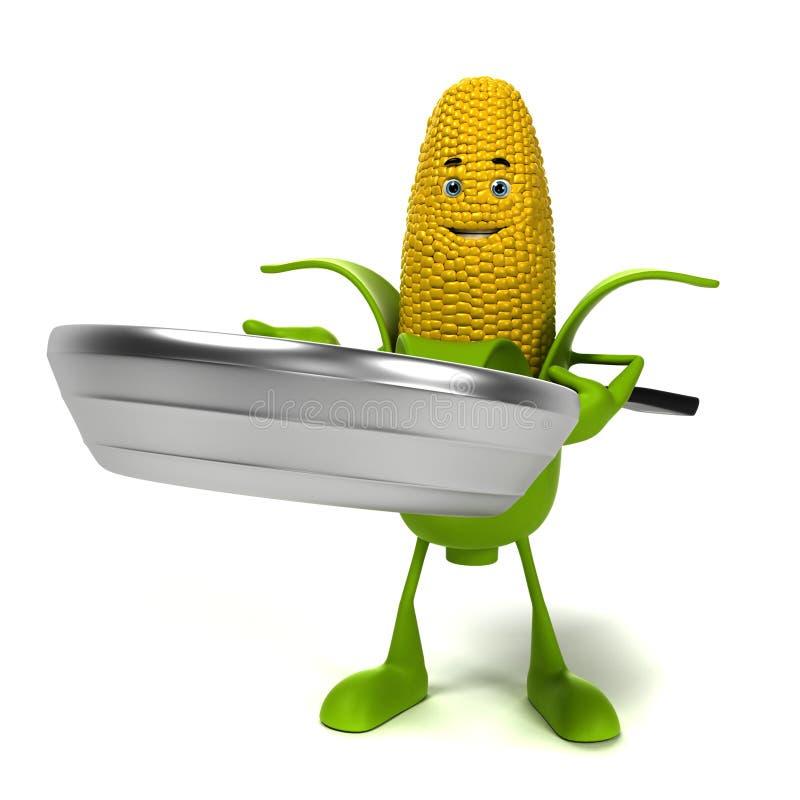 Caráter do alimento - espiga de milho ilustração royalty free