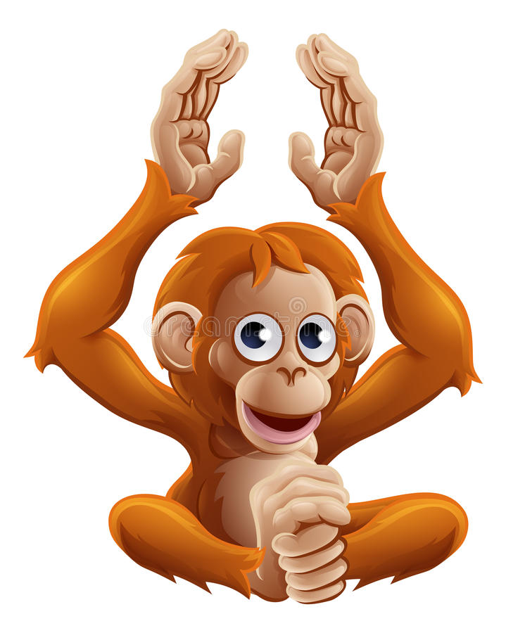 Caráter do animal do orangotango dos desenhos animados ilustração do vetor