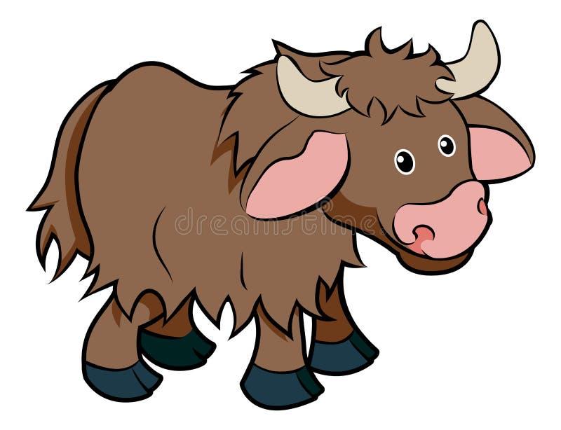 Caráter do animal dos iaques dos desenhos animados ilustração stock