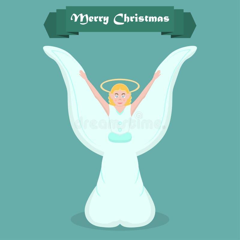 Caráter do anjo do Natal em um projeto liso Ilustração do vetor ilustração stock