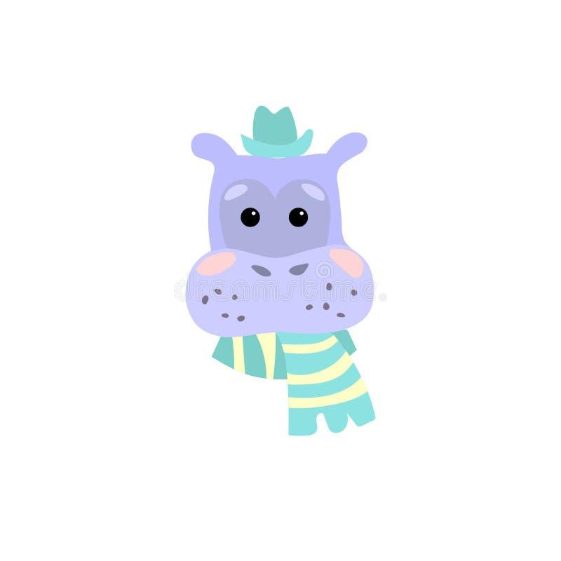 Caráter do artoon do ¡ de Ð do hipopótamo ilustração stock