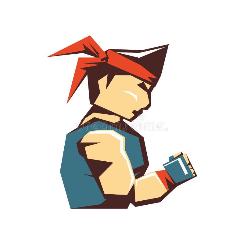 Caráter do avatar do homem do karaté ilustração royalty free
