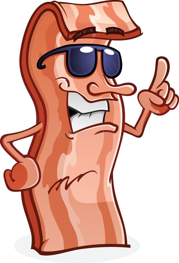 Caráter do bacon com atitude ilustração stock