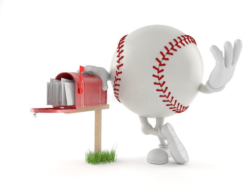 Caráter do basebol com caixa postal ilustração do vetor