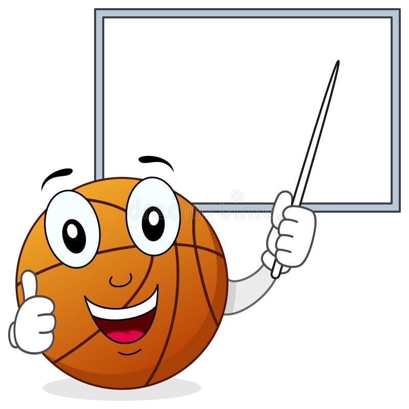 Caráter do basquetebol e placa branca ilustração royalty free