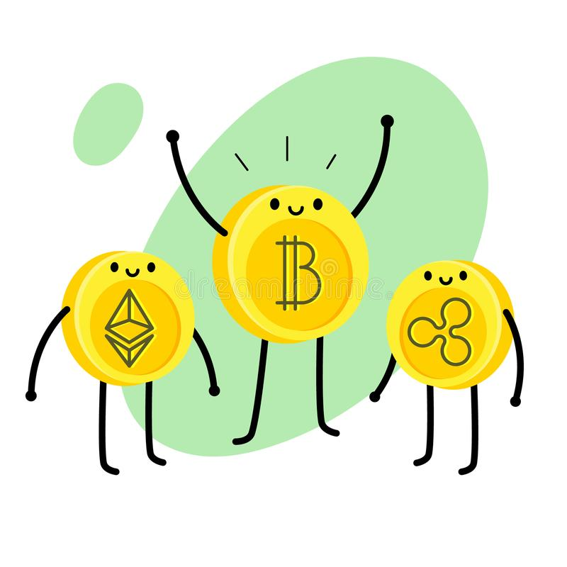 Caráter do bitcoin dos desenhos animados ilustração do vetor