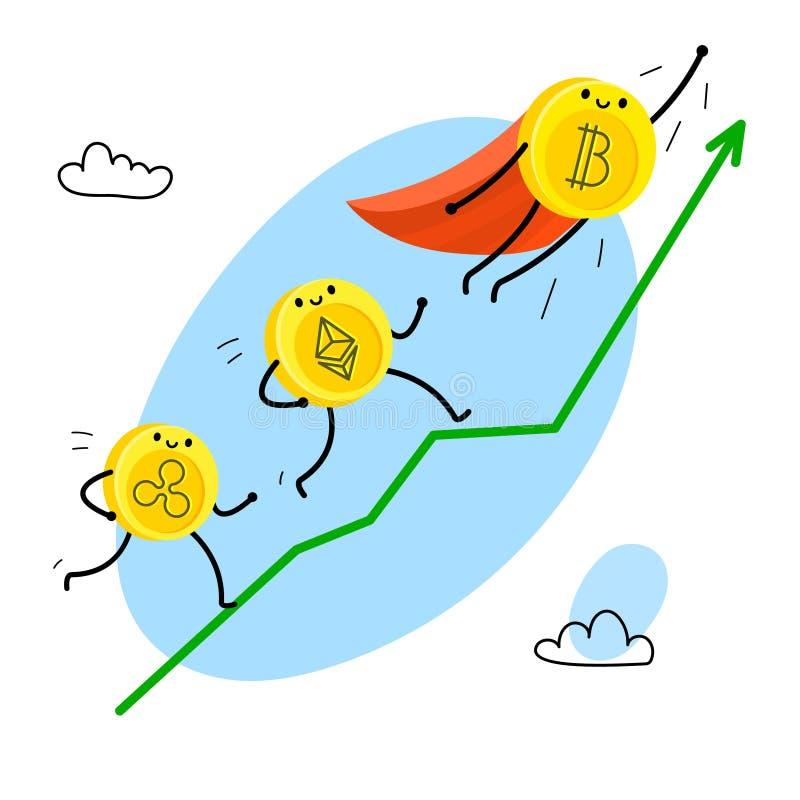 Caráter do bitcoin dos desenhos animados ilustração royalty free