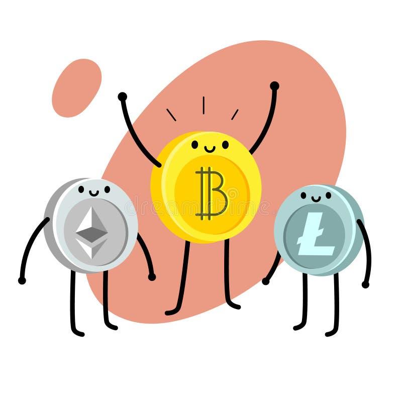 Caráter do bitcoin dos desenhos animados ilustração stock