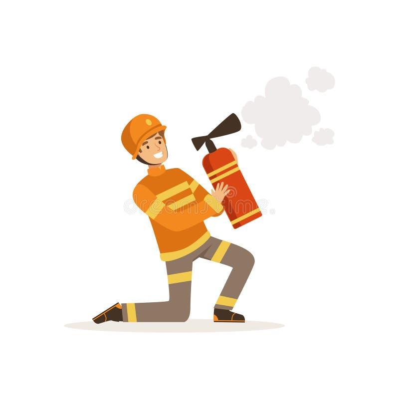 Caráter do bombeiro na espuma de pulverização de um extintor, sapador-bombeiro do ajoelhamento uniforme e protetor do capacete no ilustração stock