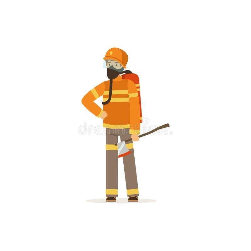 Caráter do bombeiro na máscara uniforme e protetora que guarda um machado, sapador-bombeiro na ilustração do vetor do trabalho ilustração do vetor