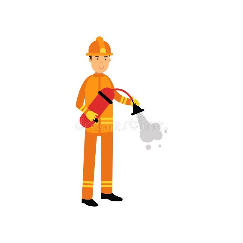 Caráter do bombeiro no capacete uniforme e protetor, espuma de pulverização do extintor ilustração stock