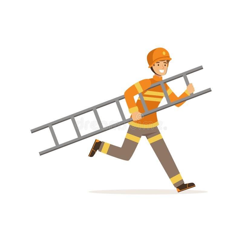 Caráter do bombeiro no capacete uniforme e protetor que corre com escada, sapador-bombeiro na ilustração do vetor do trabalho ilustração royalty free