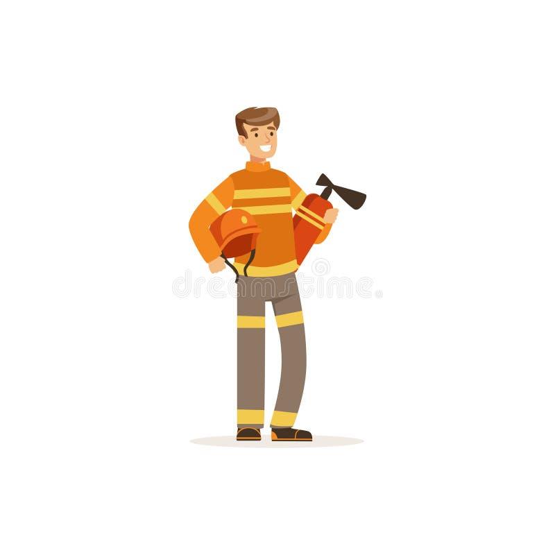 Caráter do bombeiro no extintor guardando uniforme, sapador-bombeiro na ilustração do vetor do trabalho ilustração do vetor