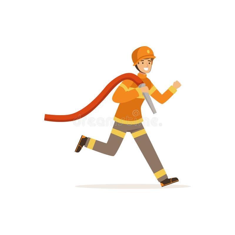 Caráter do bombeiro que corre com mangueira da água, sapador-bombeiro na ilustração do vetor do trabalho ilustração royalty free