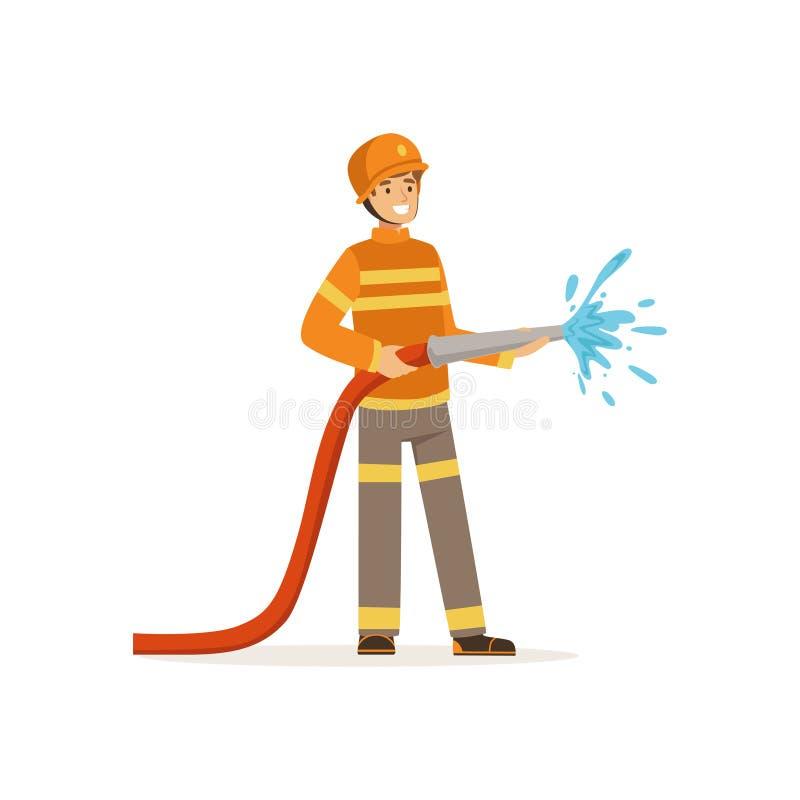Caráter do bombeiro que guarda a mangueira que extingue o fogo com água, sapador-bombeiro na ilustração do vetor do trabalho ilustração royalty free