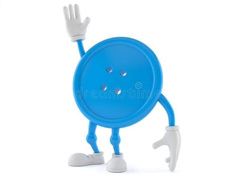 Caráter do botão com mão acima ilustração do vetor