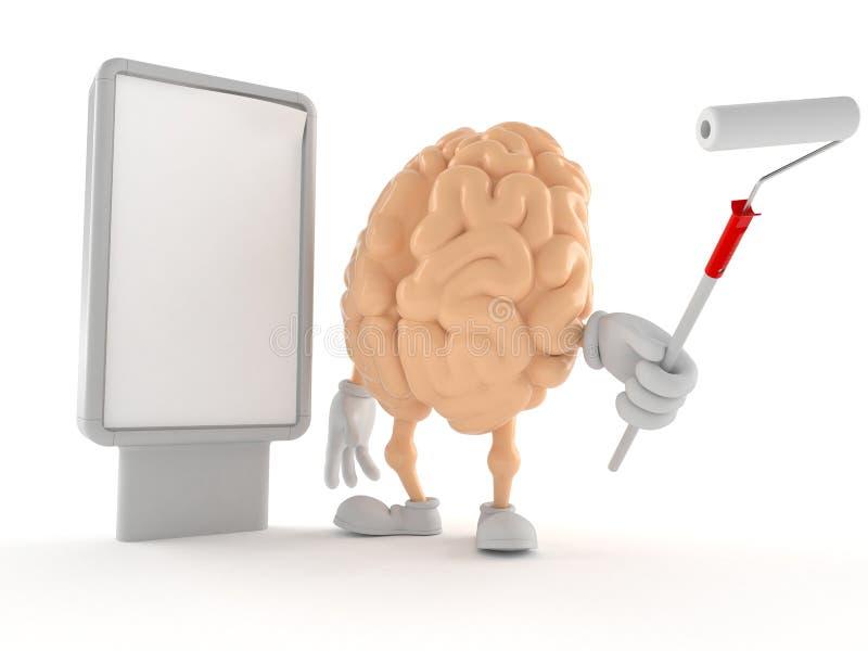 Caráter do cérebro com quadro de avisos vazio ilustração royalty free