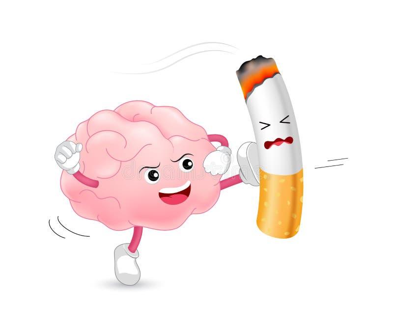 Caráter do cérebro que ataca o cigarro Fumar é prejudicial ao cérebro e a outros órgãos ilustração royalty free