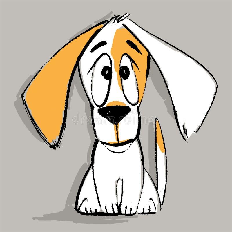 Caráter do cachorrinho no vetor Animal de estimação pequeno dos desenhos animados engraçados Ilustração do vetor Assento canino b ilustração stock