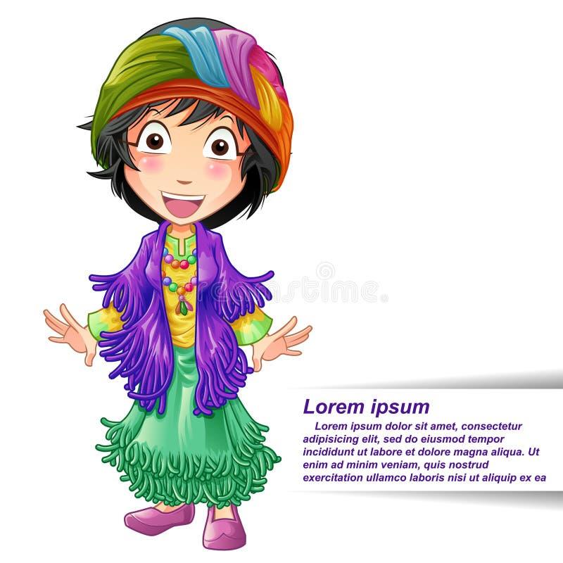 Caráter do caixa de fortuna no estilo dos desenhos animados ilustração royalty free