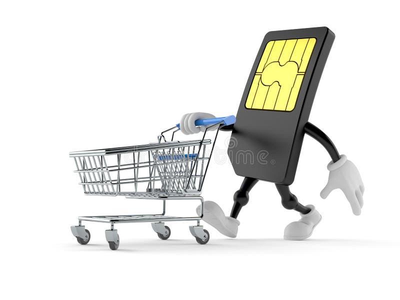 Caráter do cartão de SIM que empurra um carrinho de compras ilustração royalty free