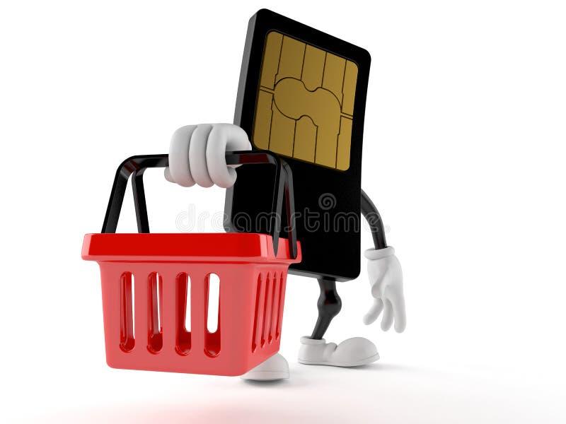 Caráter do cartão de SIM que guarda o cesto de compras ilustração royalty free